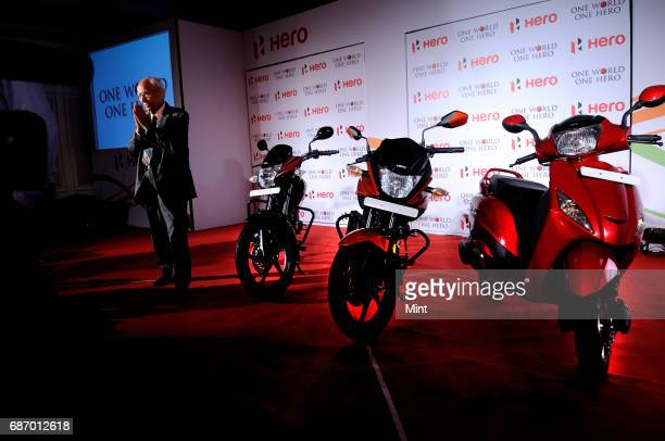 Brijmohan Lall Munjal Founder and Executive Chairman of Hero MotoCorp Ltd photographed at the launch of hero bikes at Oberoi in New Delhi