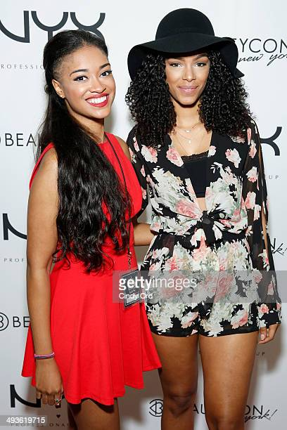 Bril Hall and YouTube personality Alba Ramos attend NYX Cosmetics Talent Lounge At BeautyConNYC at Pier 36 on May 24 2014 in New York City