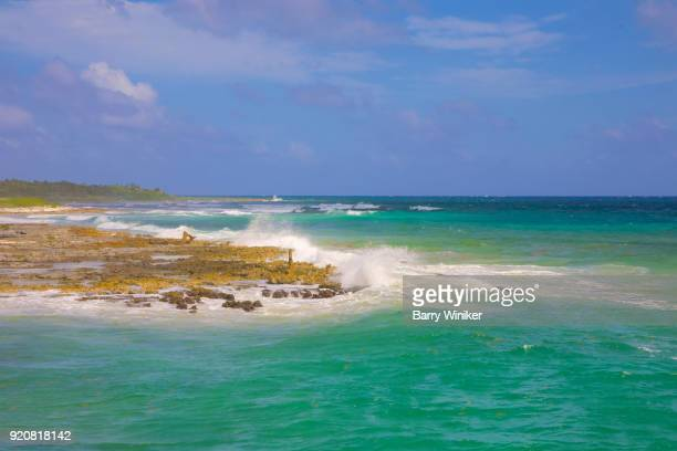 Brilliant blue-green color to Caribbean Sea near the Yucatan, Mexico