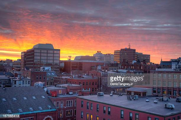 Brilliant sunset over Portland, Maine
