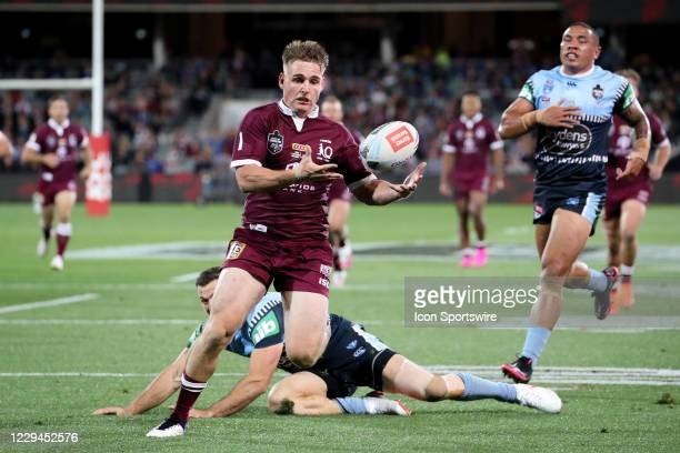 Brimson of the QLD Maroons scores a try during game one of the 2020 State of Origin series between the Queensland Maroons and New South Wales Blues...