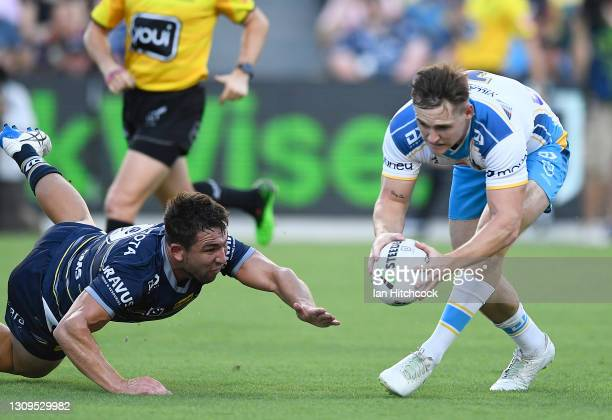 Brimson of the Titans scores a try during the round three NRL match between the North Queensland Cowboys and the Gold Coast Titans at QCB Stadium on...