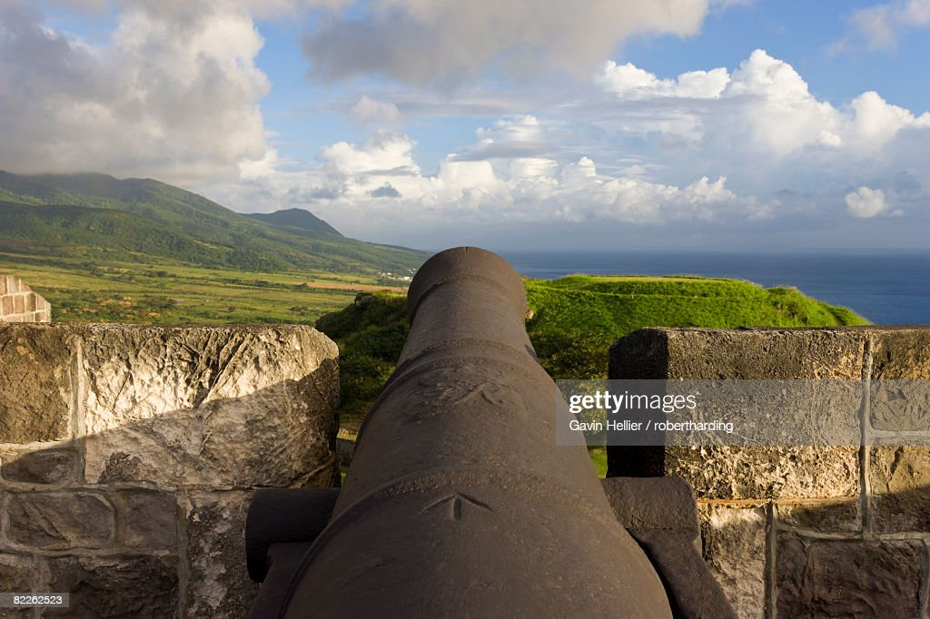 Brimstone Hill Fortress, 18th century compound, lined with 24 cannons, largest and best preserved fortress in the Caribbean : Stock Photo