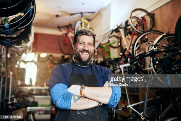 bring all your bike repairs and maintenance jobs to me - happy merchant stock pictures, royalty-free photos & images