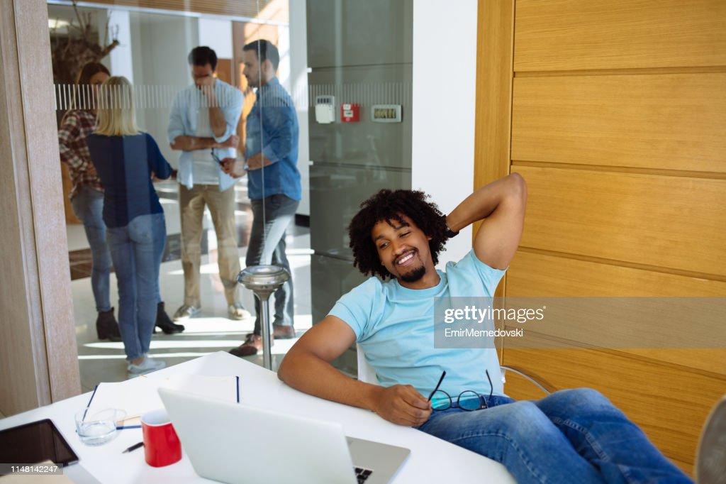 Bringing a positive attitude into business : Stock Photo