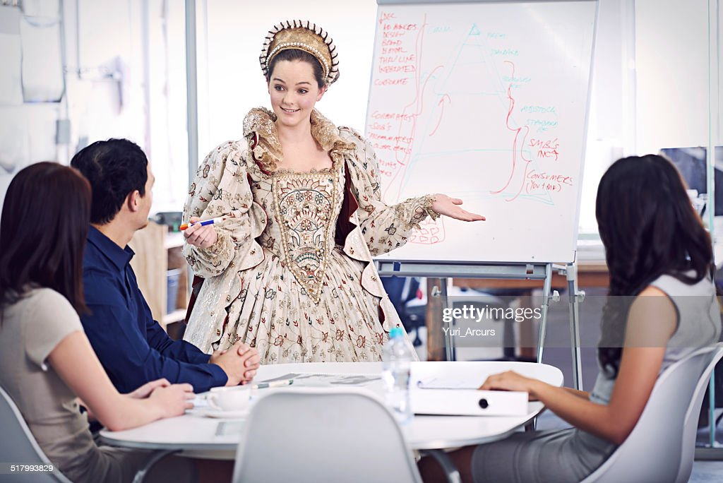 Bringing her reign to the office : Stock Photo