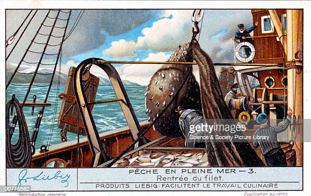 Bringing in the nets French Liebig trade card early 20th century 'Rentree du filet' No 3 in the 'Peche en Pleine Mer' set of cards about deep sea...