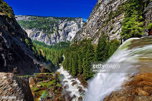 Brink of Vernal Falls overlooking Mist Trail in early summer, Yosemite National Park