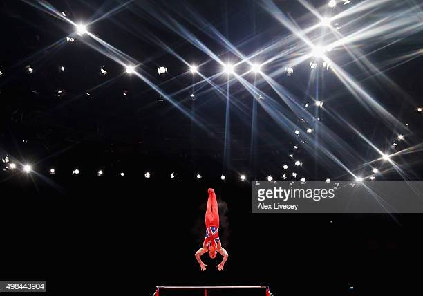 Brinn Bevan of Great Britain competes in the High Bar during day three of the 2015 World Artistic Gymnastics Championships at The SSE Hydro on...