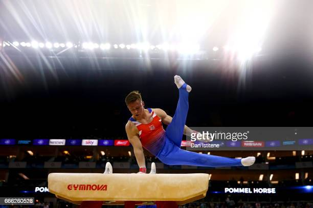 Brinn Bevan of Great Britain competes on the pommel horse during the men's competition for the iPro Sport World Cup of Gymnastics at The O2 Arena on...