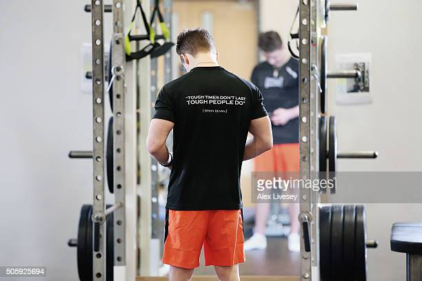 Brinn Bevan of the British Gymnastics Team works out during a rehab session at Lilleshall National Sports Centre as he recovers from a broken leg on...