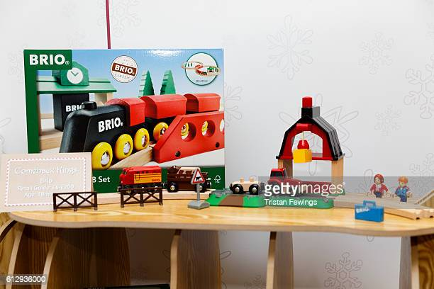 Brio wooden toy train set is displayed as Hamley's announce it's top ten toys for Christmas at Hamleys on October 6 2016 in London England