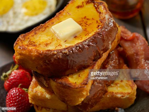 brioche french toast with bacon and eggs - brioche stock pictures, royalty-free photos & images