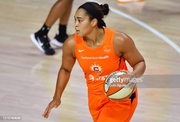 Brionna Jones of the Connecticut Sun dribbles during the second half of Game 2 of their Third Round playoffs against the Las Vegas Aces at Feld...