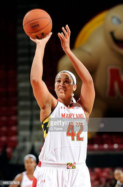 Brionna Jones of the Maryland Terrapins shoots a free throw against the Delaware State Hornets at the Comcast Center on December 14 2013 in College...