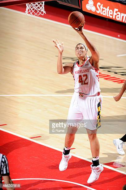 Brionna Jones of the Maryland Terrapins shoots the ball against the Delaware State Hornets at the Comcast Center on December 14 2013 in College Park...