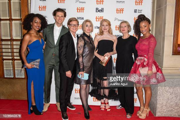 Brionne Collins Aaron Tveit Luc Roeg Carol Morley Patricia Clarkson Cairo Cannon and Devyn Tyler attend the 'Out Of Blue' premiere during the 2018...