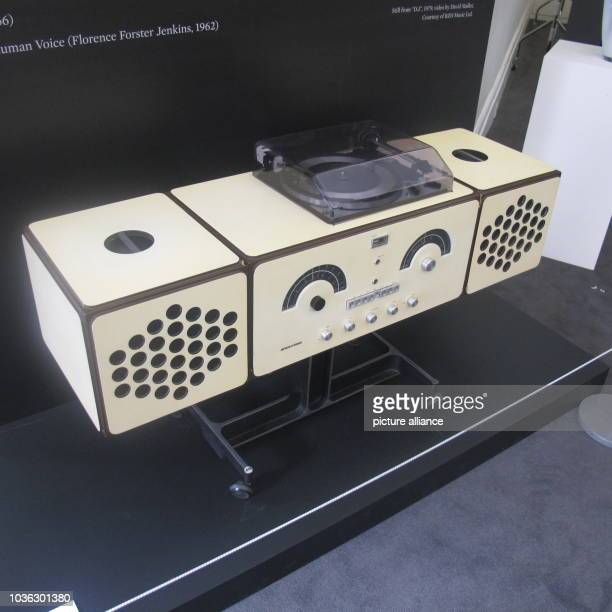 A Brionvega Radiophonograph by Pier Giacomo and Achille Castiglioni is seen at the exhibition of objects ofDavid Bowie's privat art collection at...