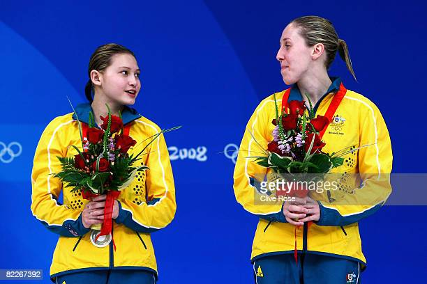 Briony Cole and Melissa Wu of Australia pose with the silver medal during the medal ceremony for the Women's Synchronised 10m Platform held at the...
