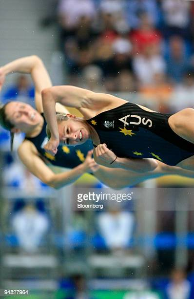 Briony Cole left and Sharleen Stratton of Australia compete in the women's synchronized 3meter springboard diving event on day two of the 2008...