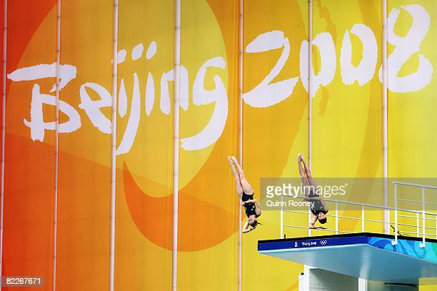 Briony Cole of Australia and Melissa Wu of Australia compete in the Women's Synchronised 10m Platform Final held at the National Aquatics Center...