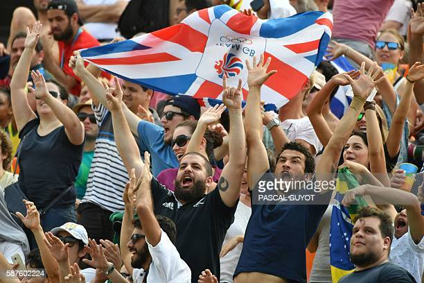 TOPSHOT Brirain's supporters cheers in the mens rugby sevens match between Britain and Kenya during the Rio 2016 Olympic Games at Deodoro Stadium in...