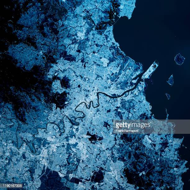 brisbane australia 3d render map blue top view sept 2019 - frank ramspott stock pictures, royalty-free photos & images
