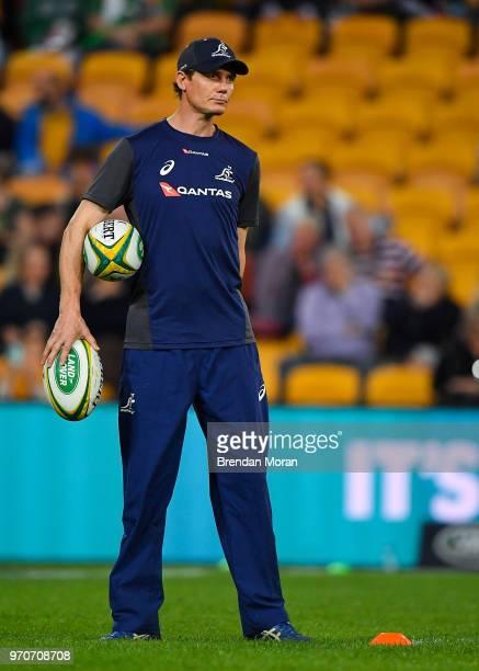 Brisbane Australia 9 June 2018 Australia attack coach Stephen Larkham prior to the 2018 Mitsubishi Estate Ireland Series 1st Test match between...