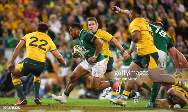 Brisbane Australia 9 June 2018 Bundee Aki of Ireland in action against Nick Phipps of Australia during the 2018 Mitsubishi Estate Ireland Series 1st...