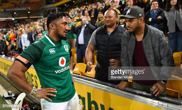 Brisbane Australia 9 June 2018 Bundee Aki of Ireland with friends and family after the 2018 Mitsubishi Estate Ireland Series 1st Test match between...