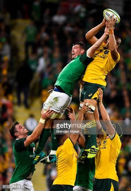 Brisbane Australia 9 June 2018 Caleb Timu of Australia wins a lineout from Peter OMahony of Ireland during the 2018 Mitsubishi Estate Ireland Series...
