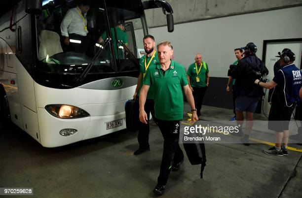 Brisbane Australia 9 June 2018 Ireland head coach Joe Schmidt and defence coach Andy Farrell left arrive prior to the 2018 Mitsubishi Estate Ireland...