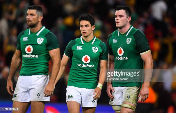 Brisbane Australia 9 June 2018 Ireland players from left Rob Kearney Joey Carbery and James Ryan after the 2018 Mitsubishi Estate Ireland Series 1st...