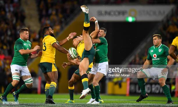 Brisbane Australia 9 June 2018 Israel Folau of Australia is tackled by Rob Kearney of Ireland during the 2018 Mitsubishi Estate Ireland Series 1st...