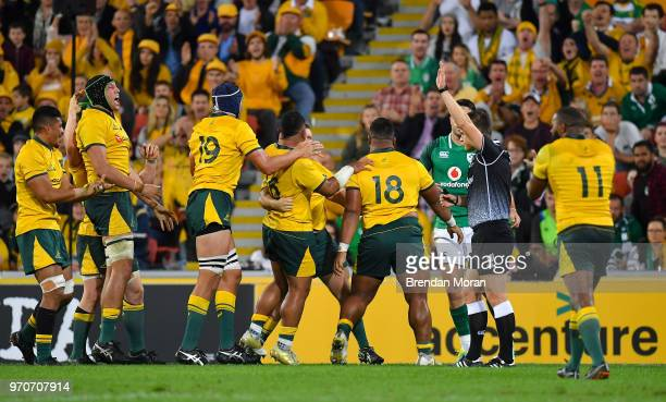 Brisbane Australia 9 June 2018 The Australia pack celebrate after winning a scrum penalty against Ireland during the 2018 Mitsubishi Estate Ireland...