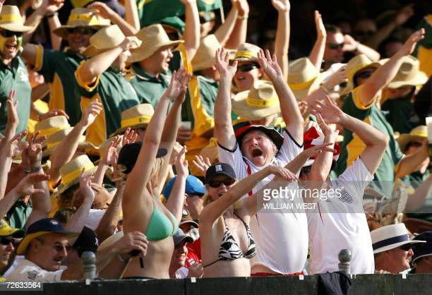 Barmy Army fans join in with the local fans in a Mexican wave of the first Ashes Test Match in Brisbane 23 November 2006 Australian captain Rick...