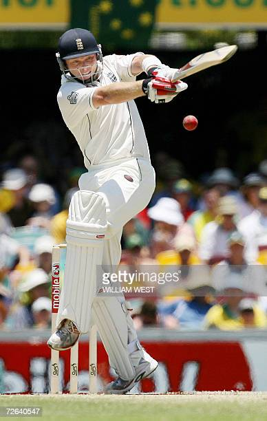 England batsman Ian Bell pulls a ball away from the Australian attack on the third day of the first Ashes Test Match, in Brisbane 25 November 2006....