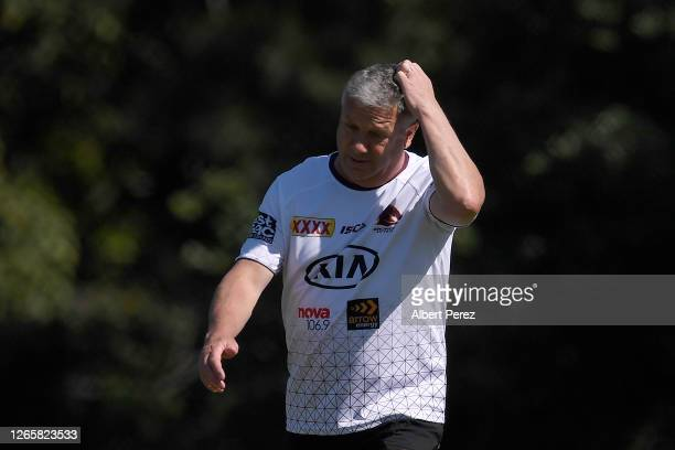 Brisbane Broncos assistant coach Peter Gentle is seen during a Brisbane Broncos NRL training session at the Clive Berghofer Centre on August 13, 2020...