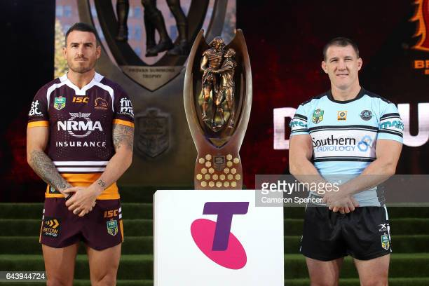 Brisbane Broncos captain Darius Boyd and CronullaSutherland Sharks captain Paul Gallen are introduced during the 2017 NRL Season Launch at Martin...