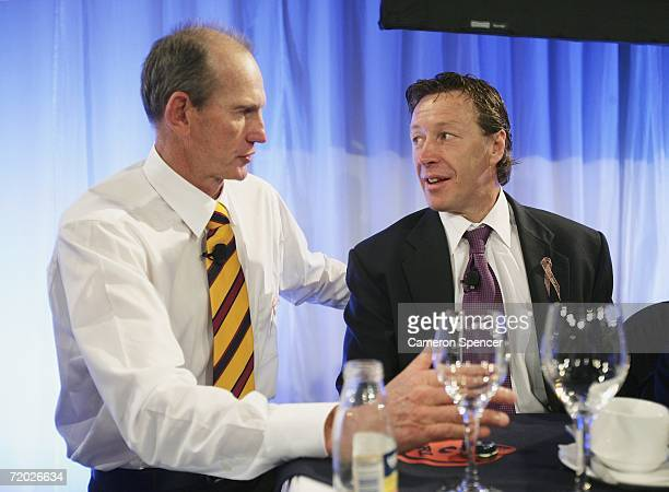 Brisbane Broncos Coach Wayne Bennett and Melbourne Storm Coach Craig Bellamy talk to each other during the NRL Captains Grand Final Breakfast at the...