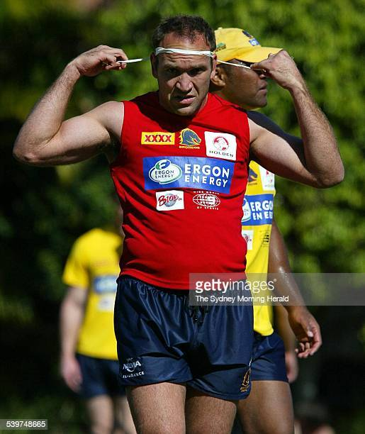 Brisbane Broncos training at Red Hill in outer Brisbane. Image shows Broncos captain Gorden Tallis at training, 17 September 2004. SMH Picture by...