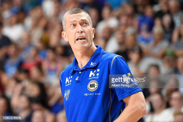 Brisbane Bullets coach Andrej Lemanis is seen during the round 12 NBL match between the Brisbane Bullets and Melbourne United at Gold Coast Sports...