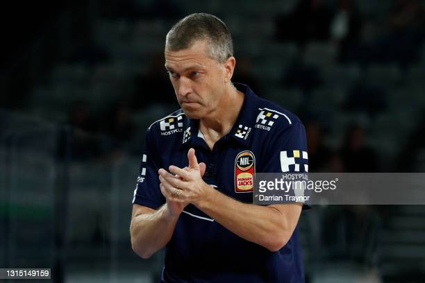 Brisbane Bullets coach Andrej Lemanis looks on during the round 16 NBL match between the South East Melbourne Phoenix and the Brisbane Bullets at...