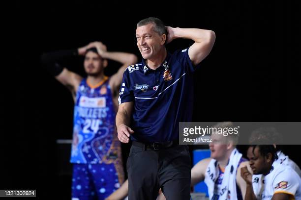 Brisbane Bullets coach Andrej Lemanis reacts during the round 21 NBL match between the South East Melbourne Phoenix and the Brisbane Bullets at...