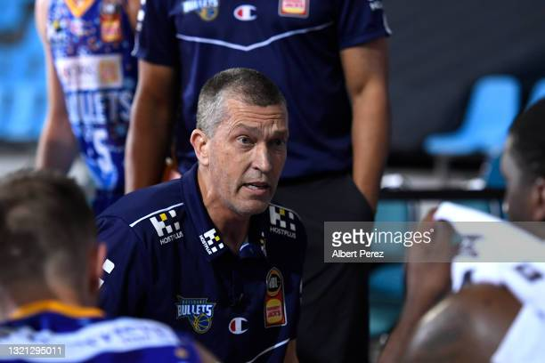 Brisbane Bullets coach Andrej Lemanis speaks to his players during the round 21 NBL match between the South East Melbourne Phoenix and the Brisbane...