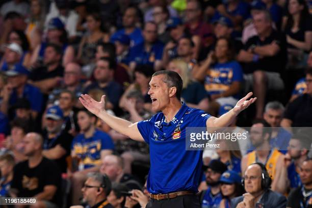Brisbane Bullets head coach Andrej Lemanis reacts during the round 13 NBL match between the Brisbane Bullets and the New Zealand Breakers at Nissan...