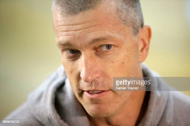 Brisbane Bullets head coach Andrej Lemanis speaks to the media during the NBL Combine 2017/18 at Melbourne Sports and Aquatic Centre on April 18 2017...
