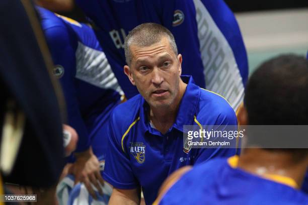 Brisbane Bullets Head Coach Andrej Lemanis talks to his players during the 2018 NBL Blitz match between the Brisbane Bullets and Melbourne United at...