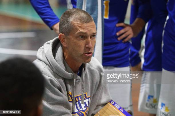 Brisbane Bullets Head Coach Andrej Lemanis talks to his players during the 2018 NBL Blitz match between Sydney Kings and Brisbane Bullets at Ballarat...