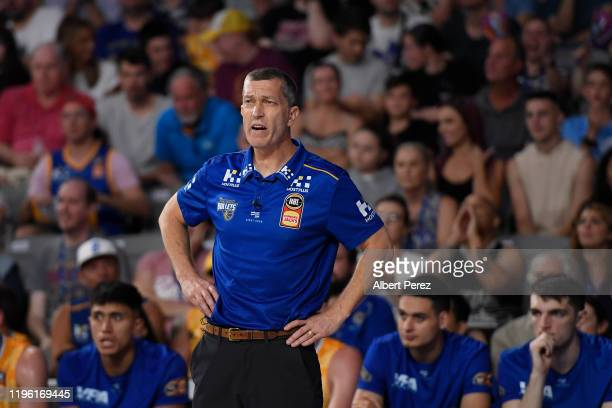 Brisbane Bullets head coach Andrej Lemanis watches on during the round 13 NBL match between the Brisbane Bullets and the New Zealand Breakers at...